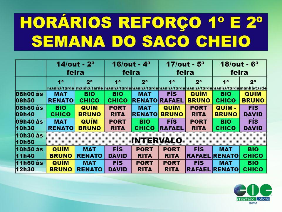 HORÁRIOS REFORÇO 1º E 2º SEMANA DO SACO CHEIO