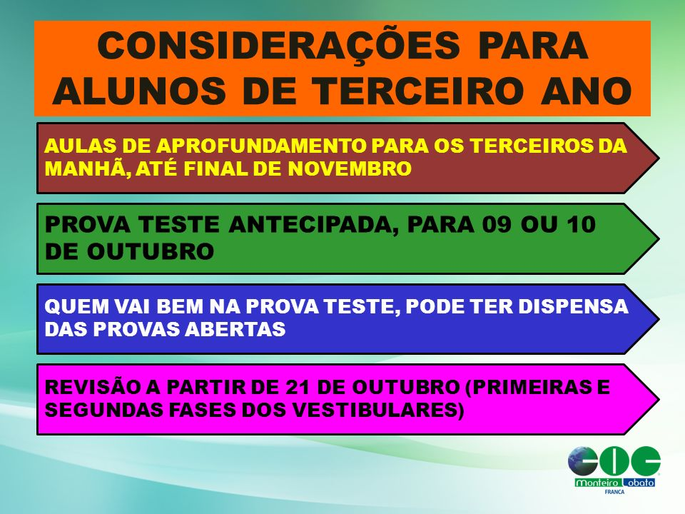 CONSIDERAÇÕES PARA ALUNOS DE TERCEIRO ANO