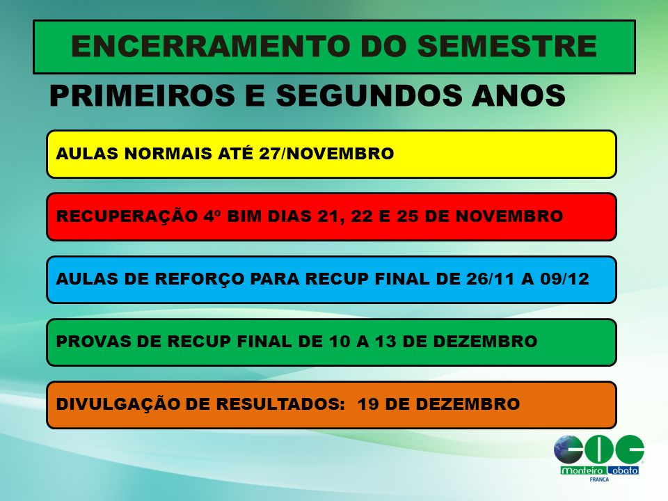 ENCERRAMENTO DO SEMESTRE