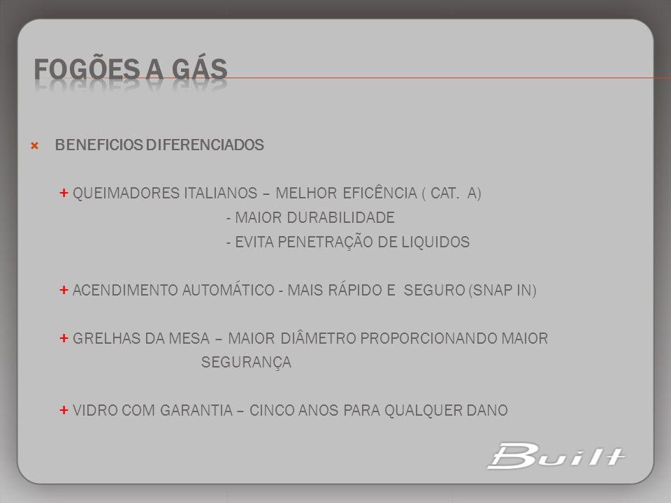 fogões a gás BENEFICIOS DIFERENCIADOS