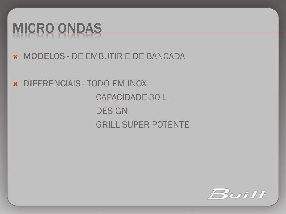 MICRO ONDAS MODELOS - DE EMBUTIR E DE BANCADA
