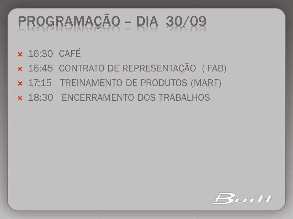 PROGRAMAÇÃO – DIA 30/09 16:30 CAFÉ