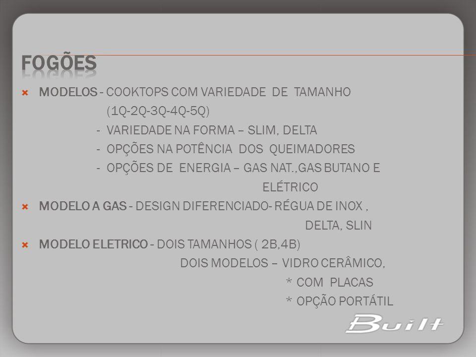 FOGÕES MODELOS - COOKTOPS COM VARIEDADE DE TAMANHO (1Q-2Q-3Q-4Q-5Q)