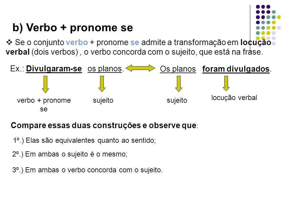 b) Verbo + pronome se