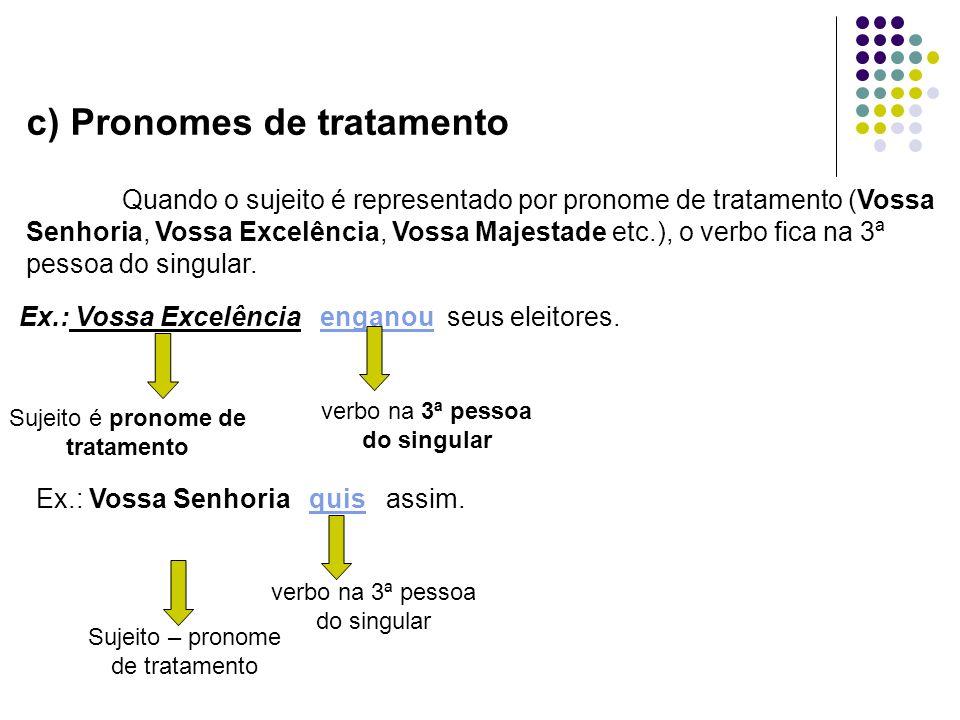 c) Pronomes de tratamento