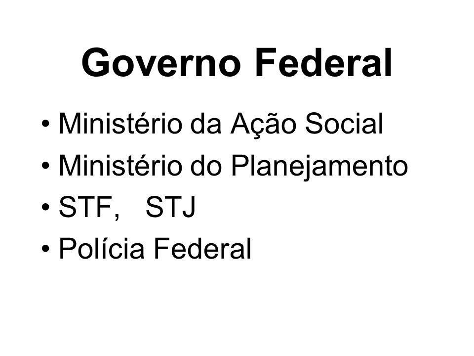 Governo Federal Ministério da Ação Social Ministério do Planejamento