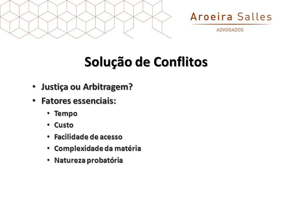 Solução de Conflitos Justiça ou Arbitragem Fatores essenciais: Tempo