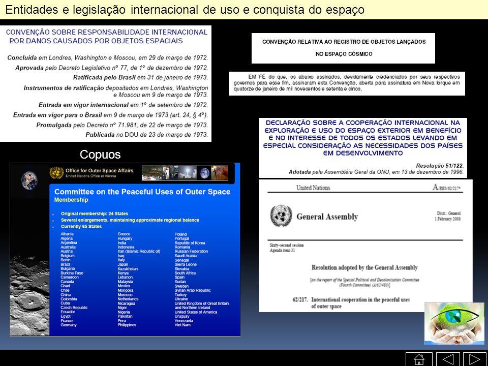 Entidades e legislação internacional de uso e conquista do espaço