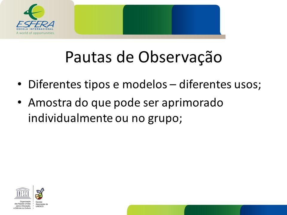 Pautas de Observação Diferentes tipos e modelos – diferentes usos;