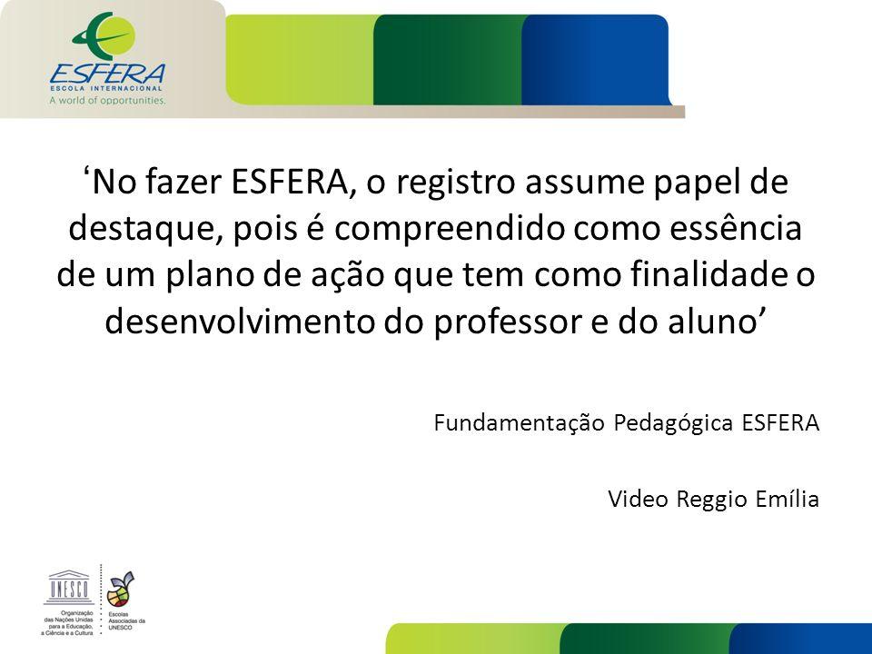 'No fazer ESFERA, o registro assume papel de destaque, pois é compreendido como essência de um plano de ação que tem como finalidade o desenvolvimento do professor e do aluno'