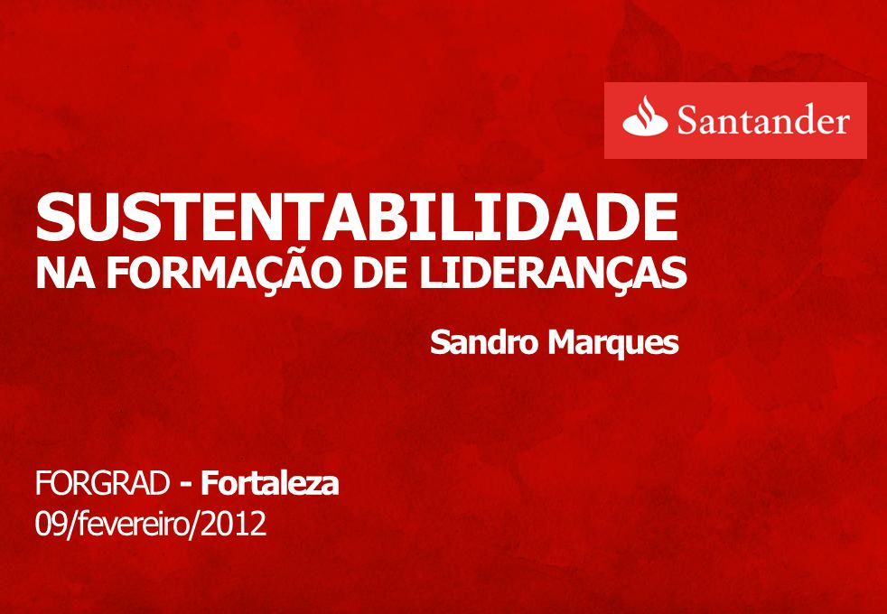 SUSTENTABILIDADE NA FORMAÇÃO DE LIDERANÇAS Sandro Marques