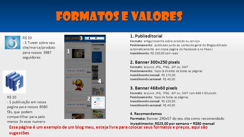 FORMATOS E VALORES 3 1 4 2 1. Publieditorial 2. Banner 300x250 pixels