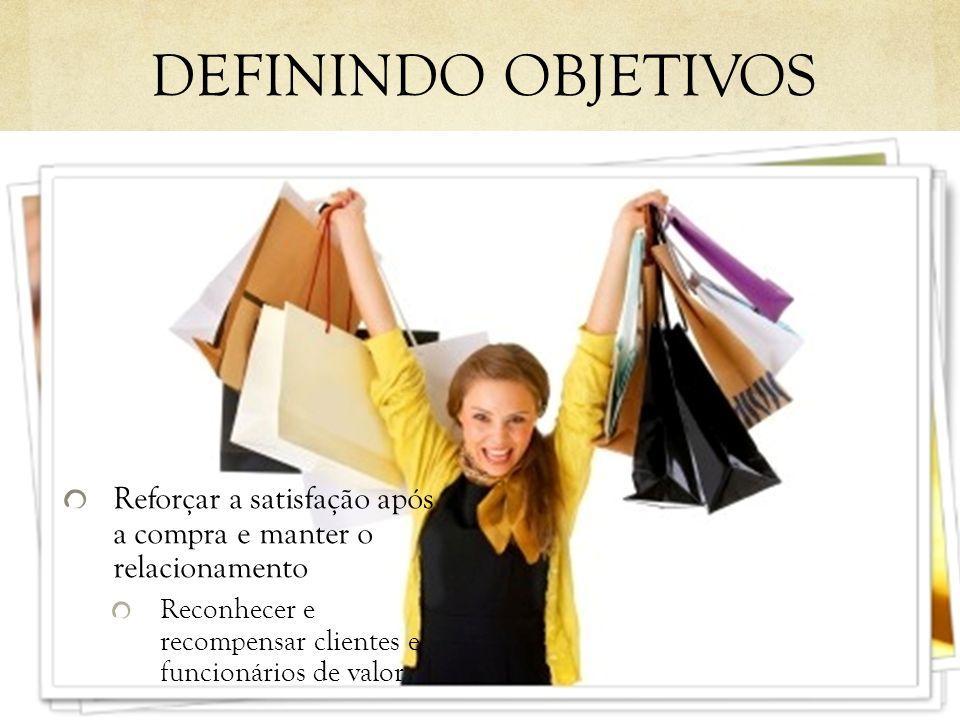 DEFININDO OBJETIVOS Reforçar a satisfação após a compra e manter o relacionamento.