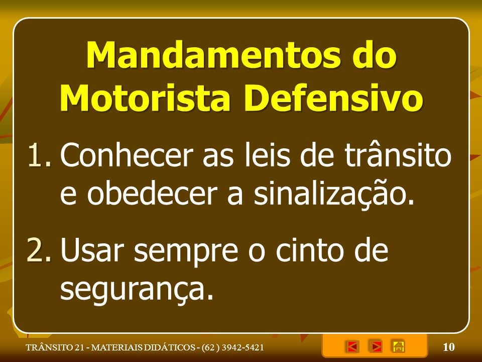 Mandamentos do Motorista Defensivo