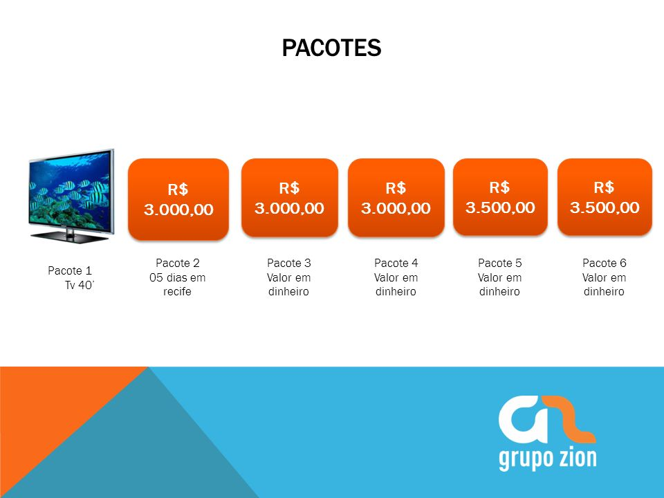 Pacotes R$ 3.000,00. R$ 3.000,00. R$ 3.000,00. R$ 3.500,00. R$ 3.500,00. Pacote 2. 05 dias em recife.