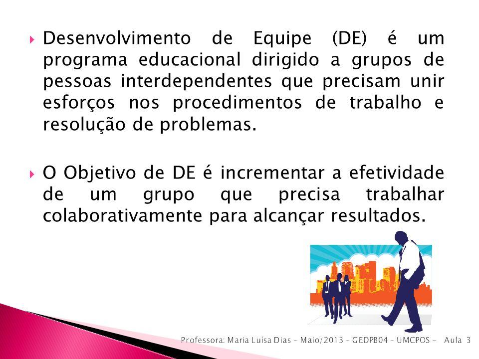 Desenvolvimento de Equipe (DE) é um programa educacional dirigido a grupos de pessoas interdependentes que precisam unir esforços nos procedimentos de trabalho e resolução de problemas.