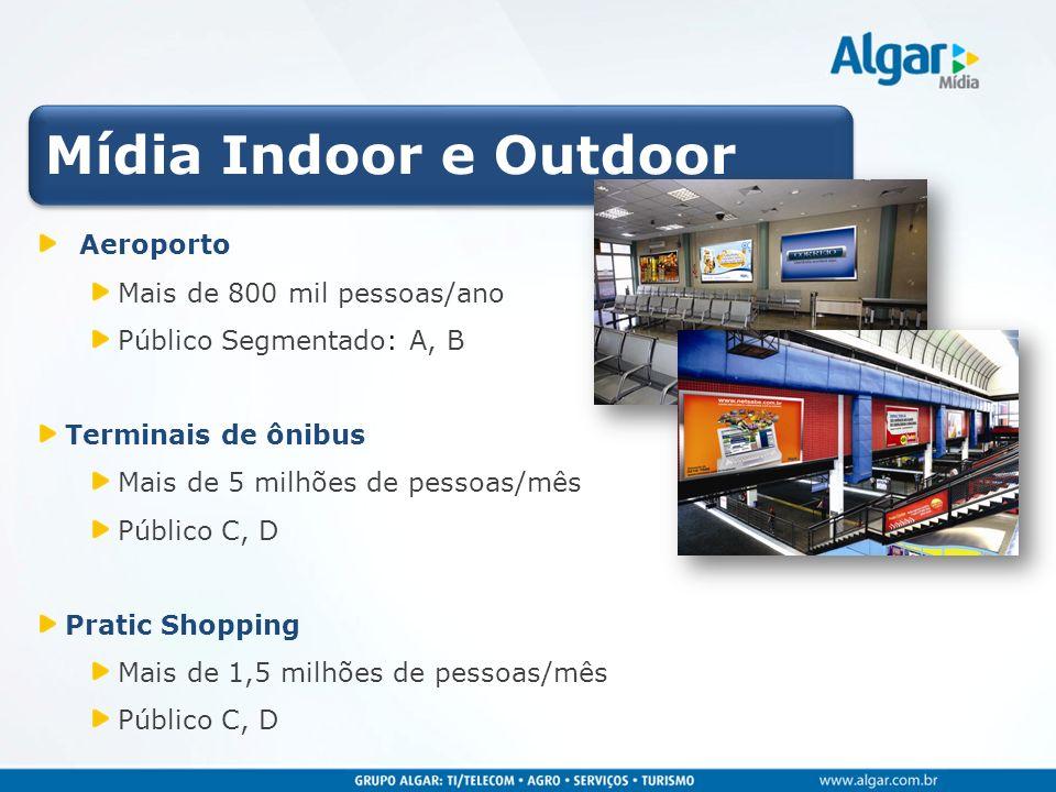 Mídia Indoor e Outdoor Aeroporto Mais de 800 mil pessoas/ano