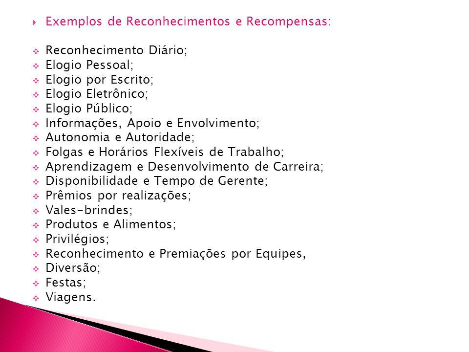 Exemplos de Reconhecimentos e Recompensas: