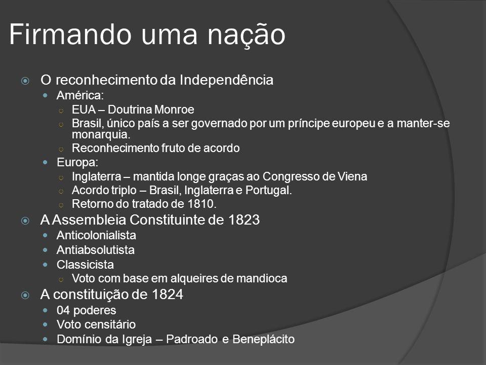 Firmando uma nação O reconhecimento da Independência