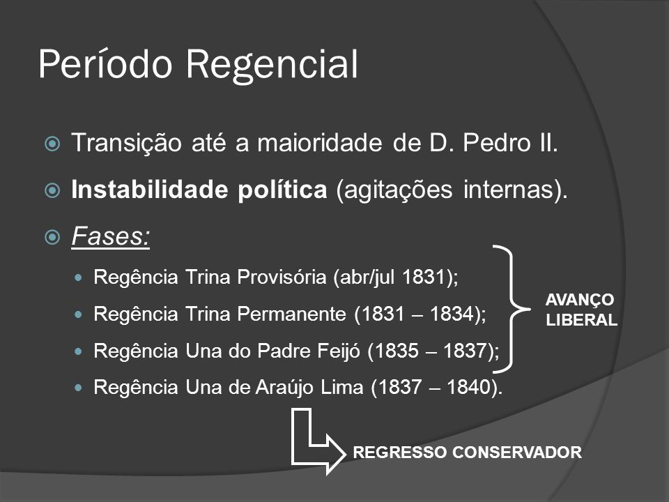 Período Regencial Transição até a maioridade de D. Pedro II.