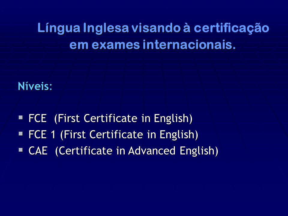 em exames internacionais.