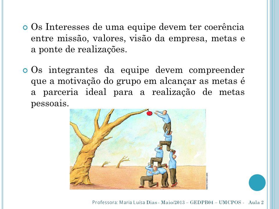 Os Interesses de uma equipe devem ter coerência entre missão, valores, visão da empresa, metas e a ponte de realizações.