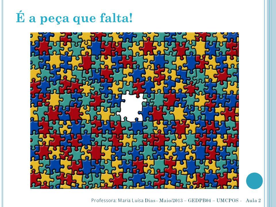 É a peça que falta! Professora: Maria Luísa Dias - Maio/2013 – GEDPB04 – UMCPOS - Aula 2