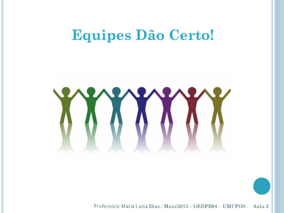 Equipes Dão Certo! Professora: Maria Luísa Dias - Maio/2013 – GEDPB04 – UMCPOS - Aula 2