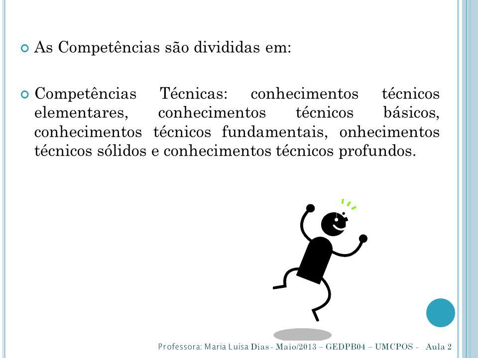 As Competências são divididas em: