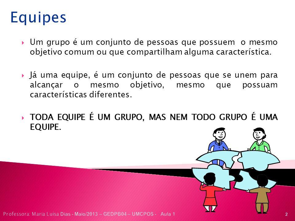 Equipes Um grupo é um conjunto de pessoas que possuem o mesmo objetivo comum ou que compartilham alguma característica.