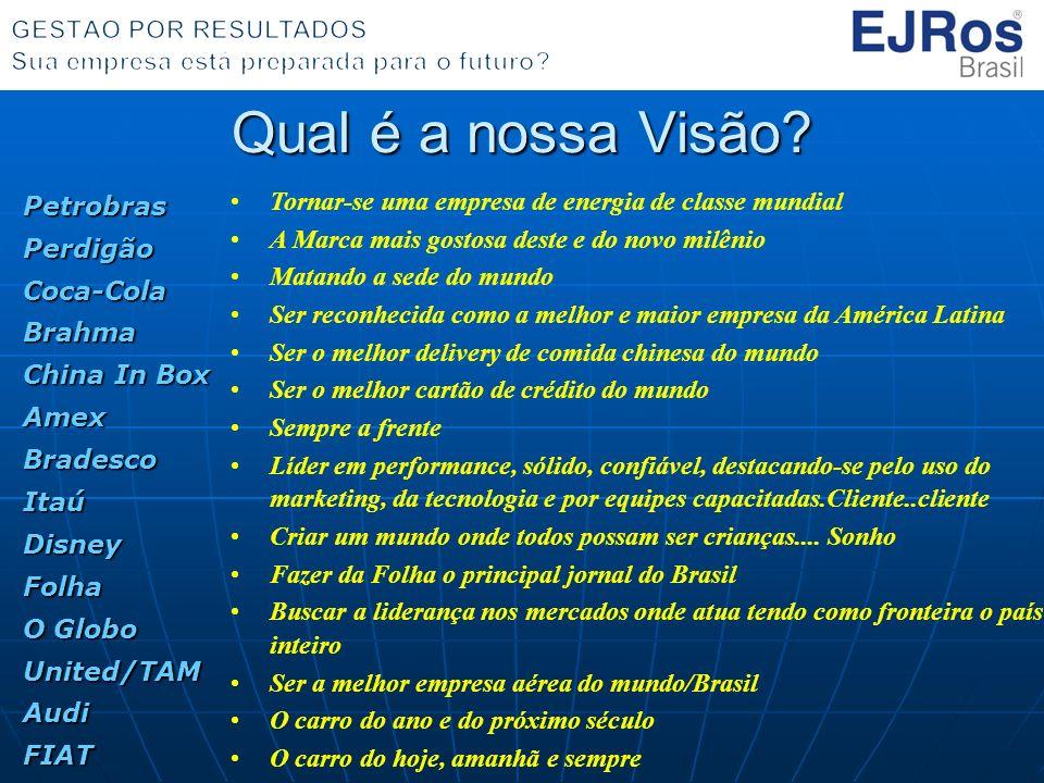 Qual é a nossa Visão Petrobras Perdigão Coca-Cola Brahma China In Box Amex Bradesco Itaú Disney Folha O Globo United/TAM Audi FIAT