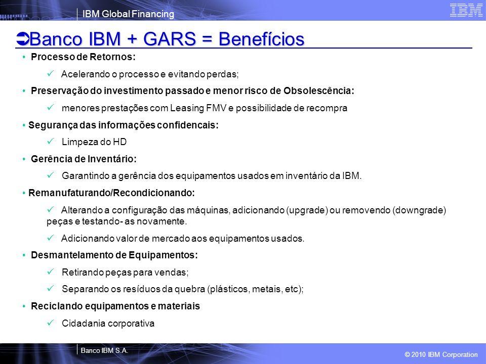 Banco IBM + GARS = Benefícios