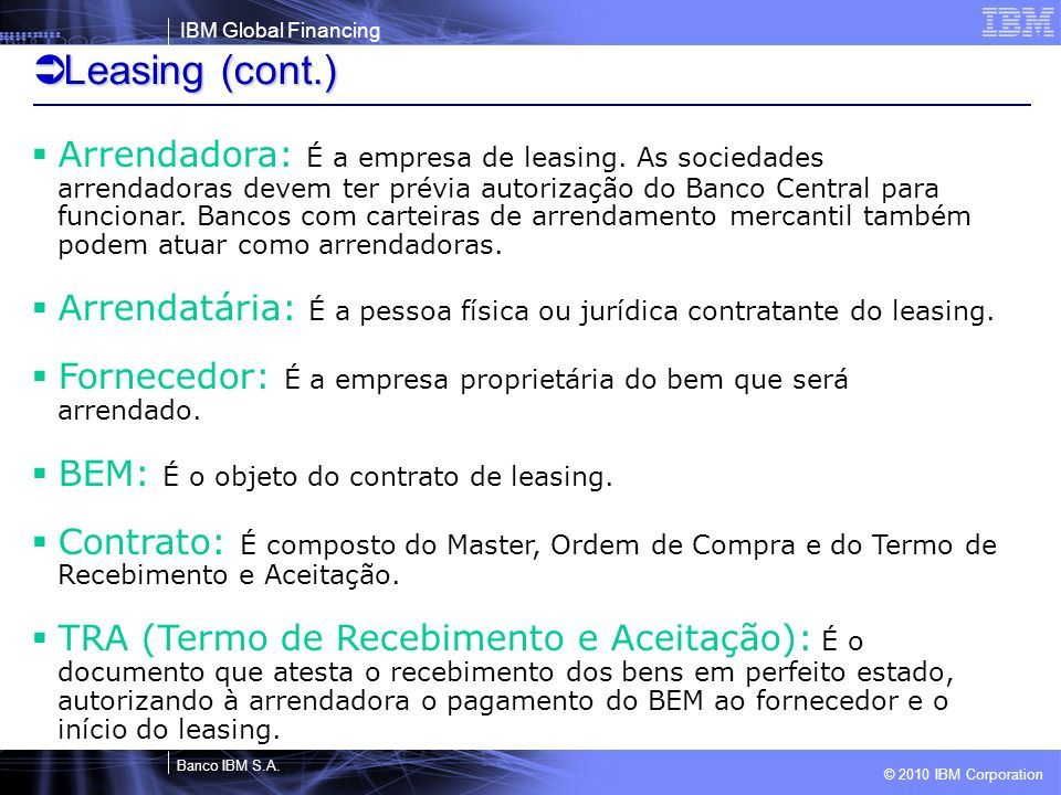 Leasing (cont.)
