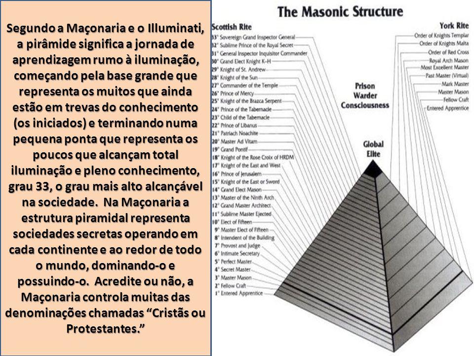 Segundo a Maçonaria e o Illuminati, a pirâmide significa a jornada de aprendizagem rumo à iluminação, começando pela base grande que representa os muitos que ainda estão em trevas do conhecimento (os iniciados) e terminando numa pequena ponta que representa os poucos que alcançam total iluminação e pleno conhecimento, grau 33, o grau mais alto alcançável na sociedade.