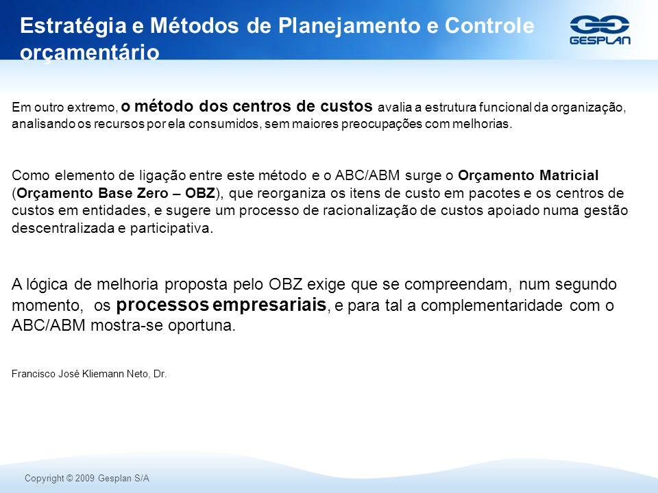 Estratégia e Métodos de Planejamento e Controle orçamentário