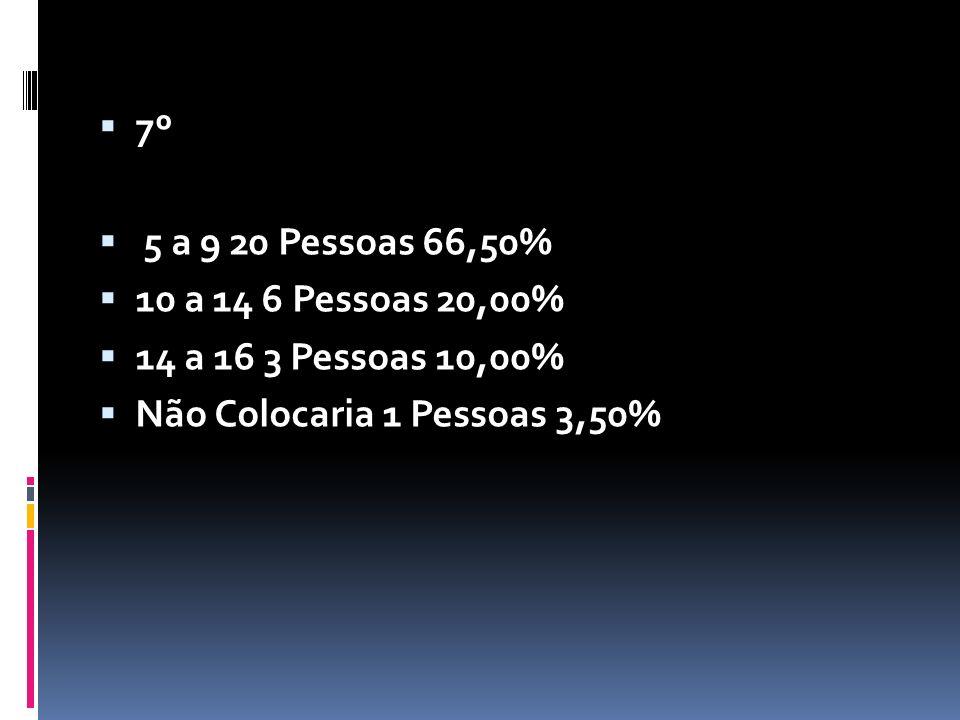 7º 5 a 9 20 Pessoas 66,50% 10 a 14 6 Pessoas 20,00% 14 a 16 3 Pessoas 10,00%