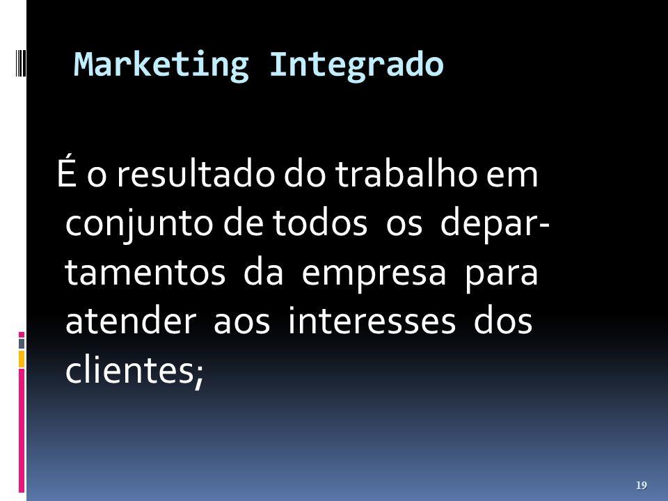 Marketing Integrado É o resultado do trabalho em conjunto de todos os depar- tamentos da empresa para atender aos interesses dos clientes;