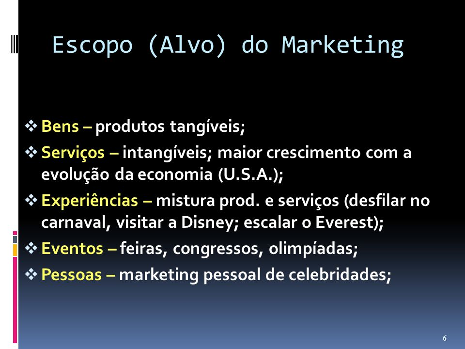 Escopo (Alvo) do Marketing