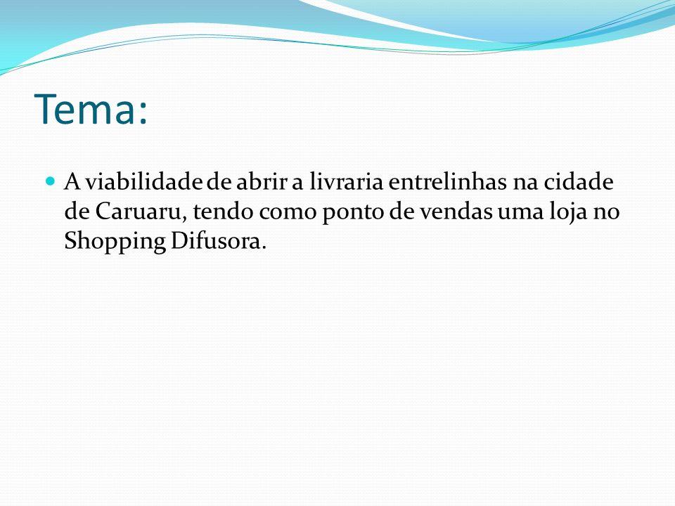 Tema: A viabilidade de abrir a livraria entrelinhas na cidade de Caruaru, tendo como ponto de vendas uma loja no Shopping Difusora.