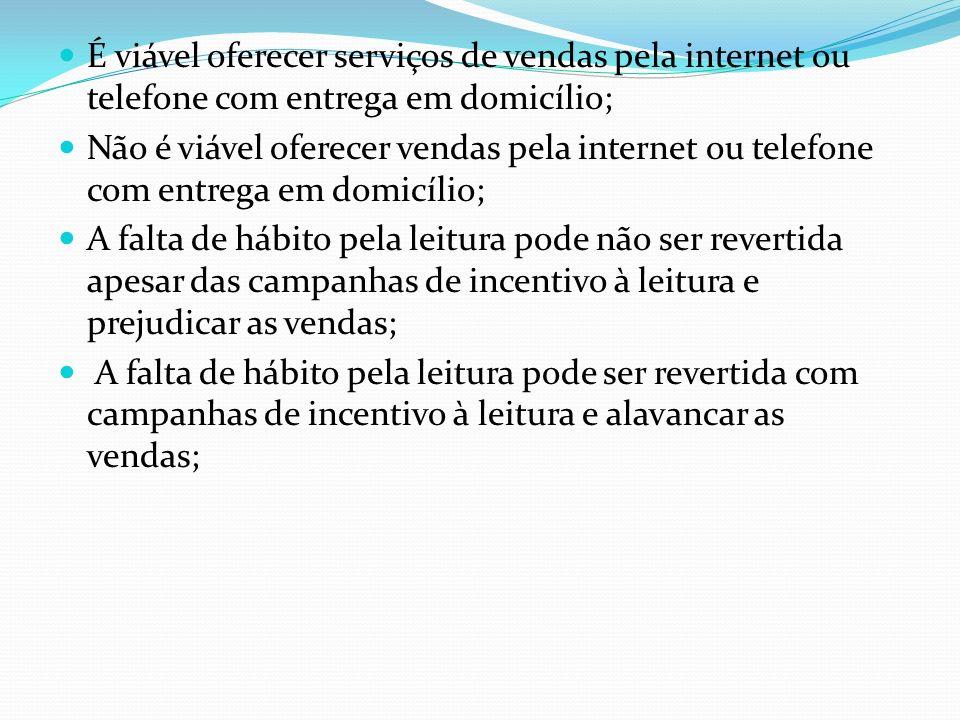 É viável oferecer serviços de vendas pela internet ou telefone com entrega em domicílio;