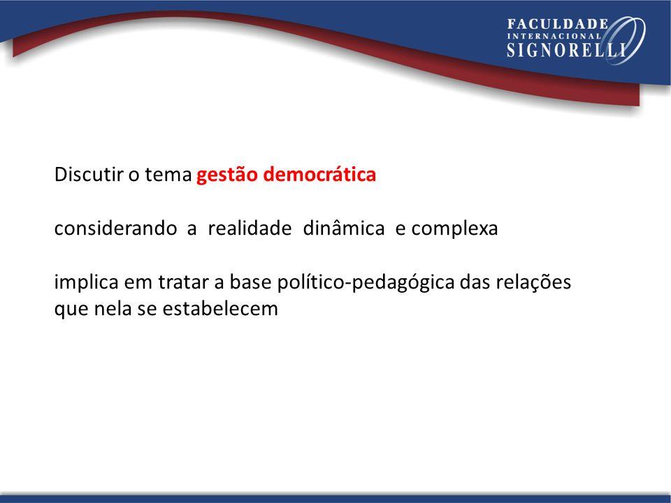 Discutir o tema gestão democrática