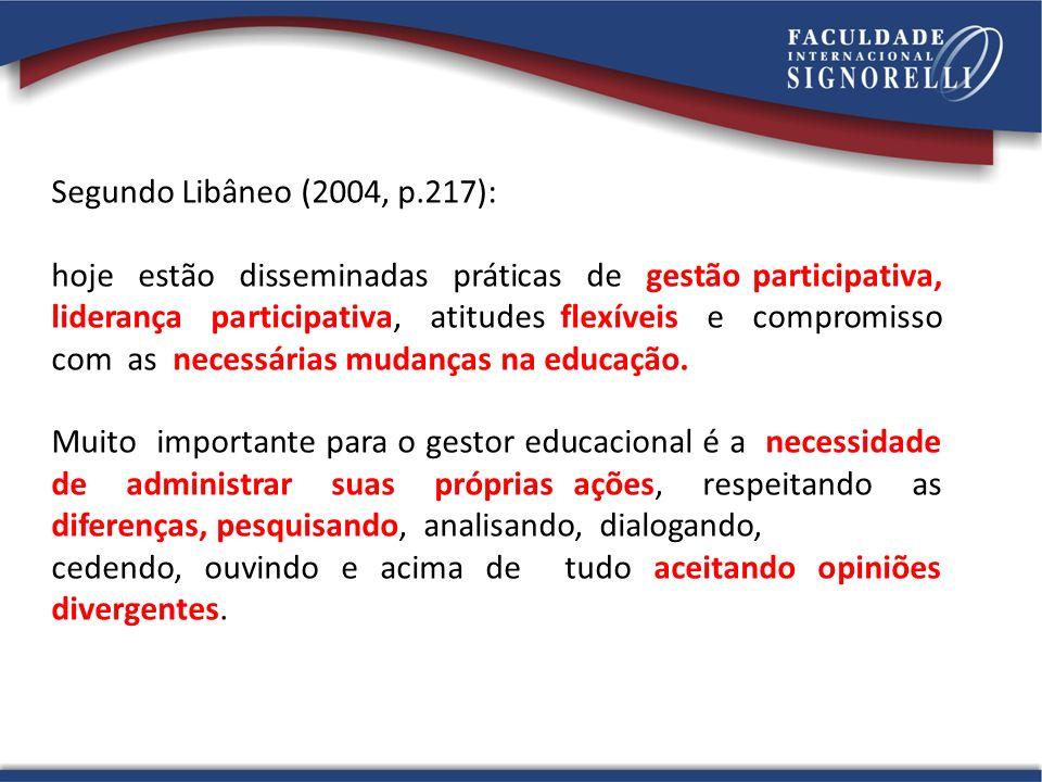 Segundo Libâneo (2004, p.217):