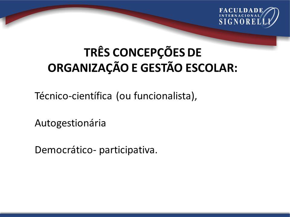 ORGANIZAÇÃO E GESTÃO ESCOLAR: