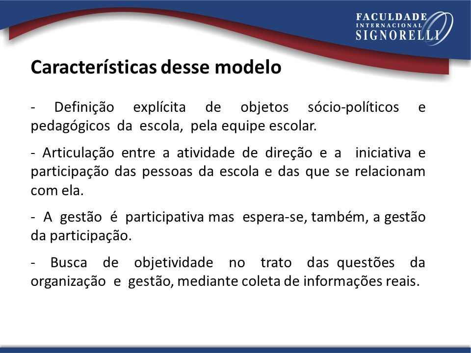 Características desse modelo