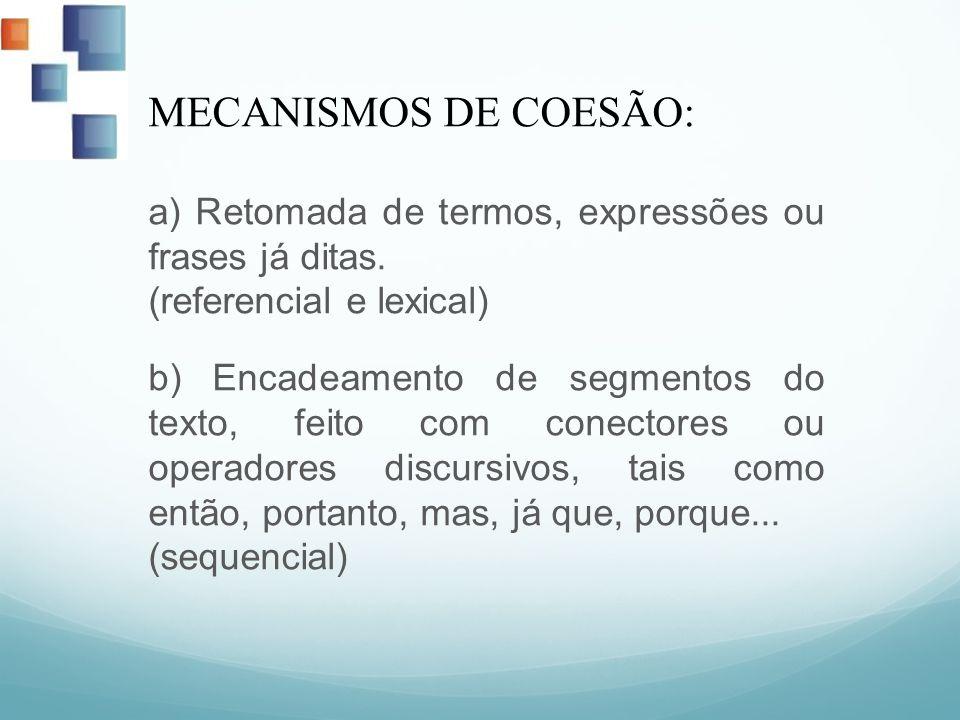 a) Retomada de termos, expressões ou frases já ditas.