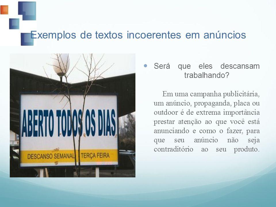 Exemplos de textos incoerentes em anúncios