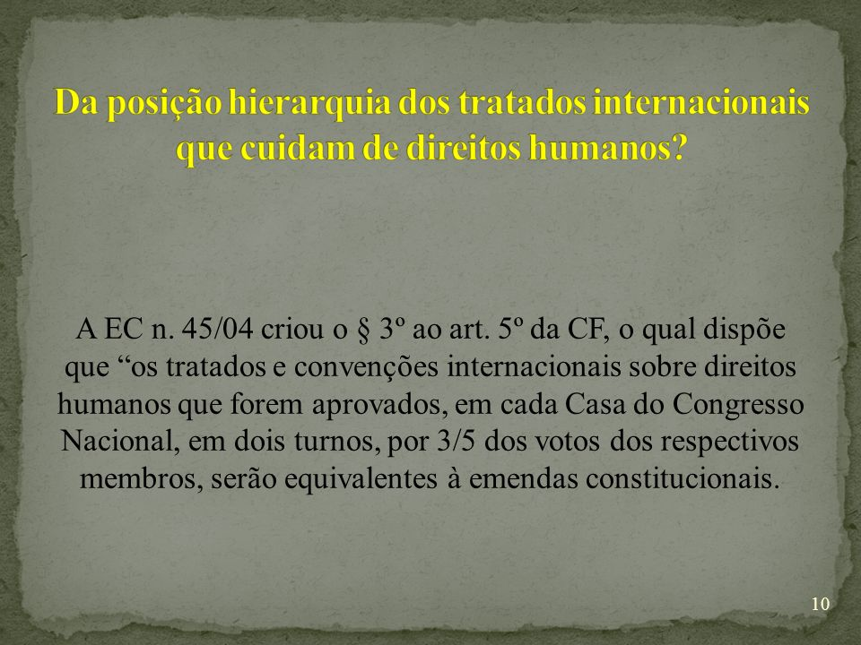 Da posição hierarquia dos tratados internacionais que cuidam de direitos humanos