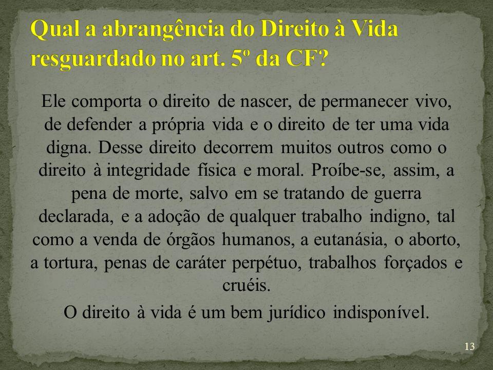 Qual a abrangência do Direito à Vida resguardado no art. 5º da CF