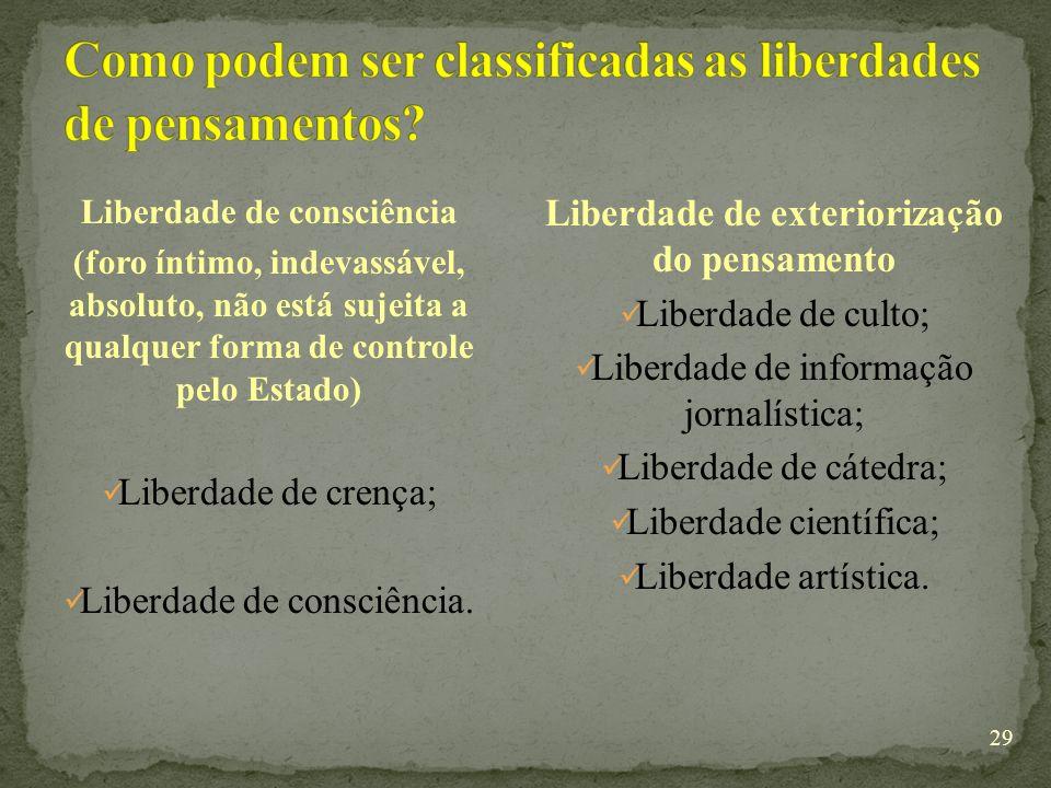 Como podem ser classificadas as liberdades de pensamentos
