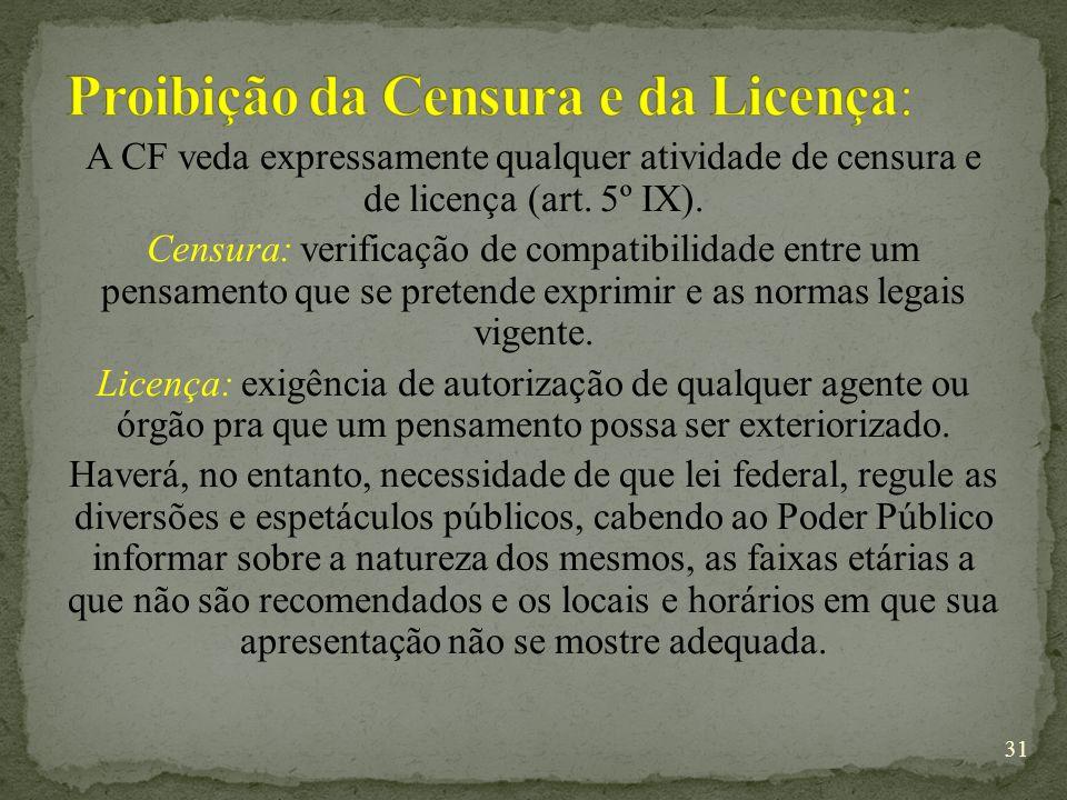Proibição da Censura e da Licença: